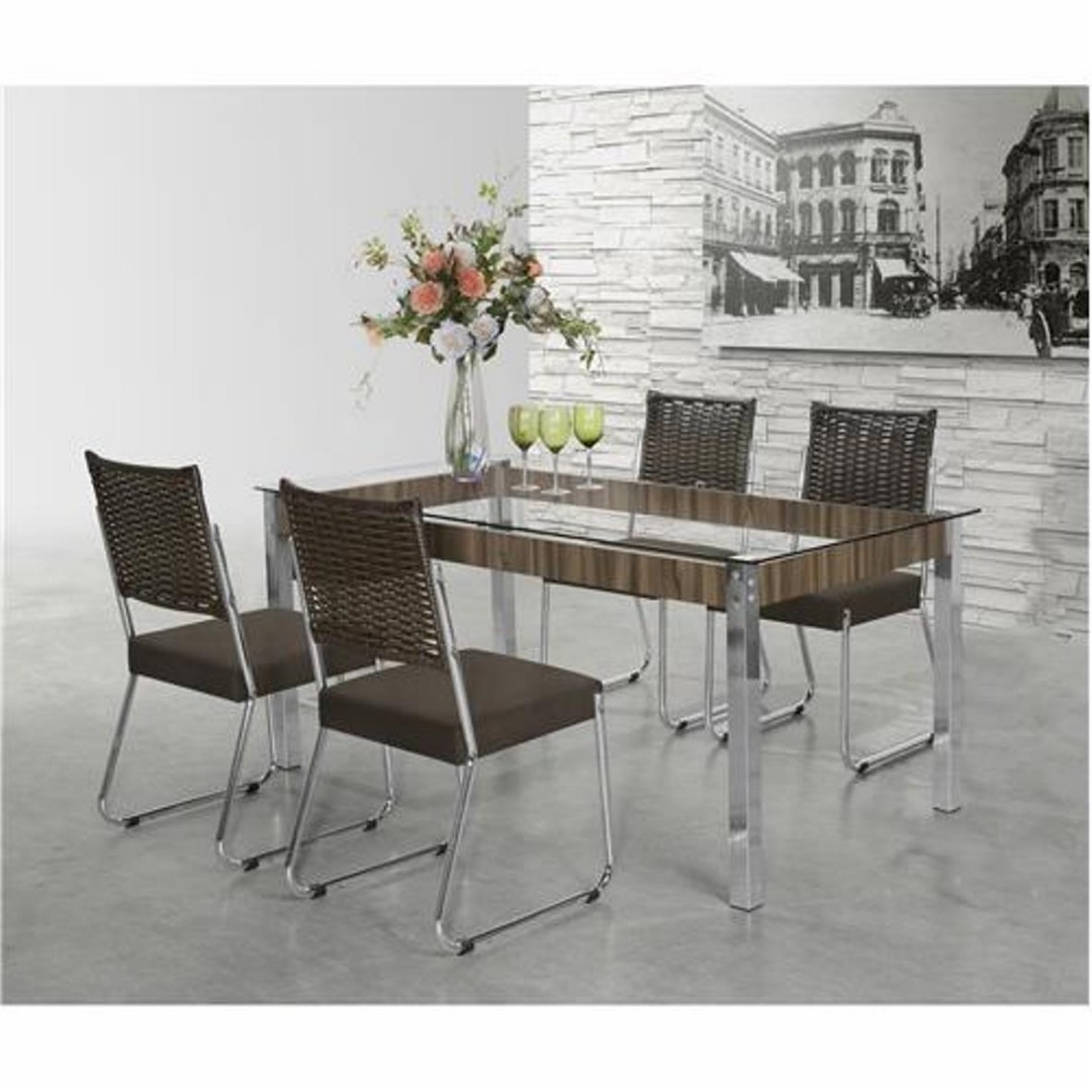 Conjunto Sala de Jantar Mesa Formato 4 Cadeiras - Aço Nobre