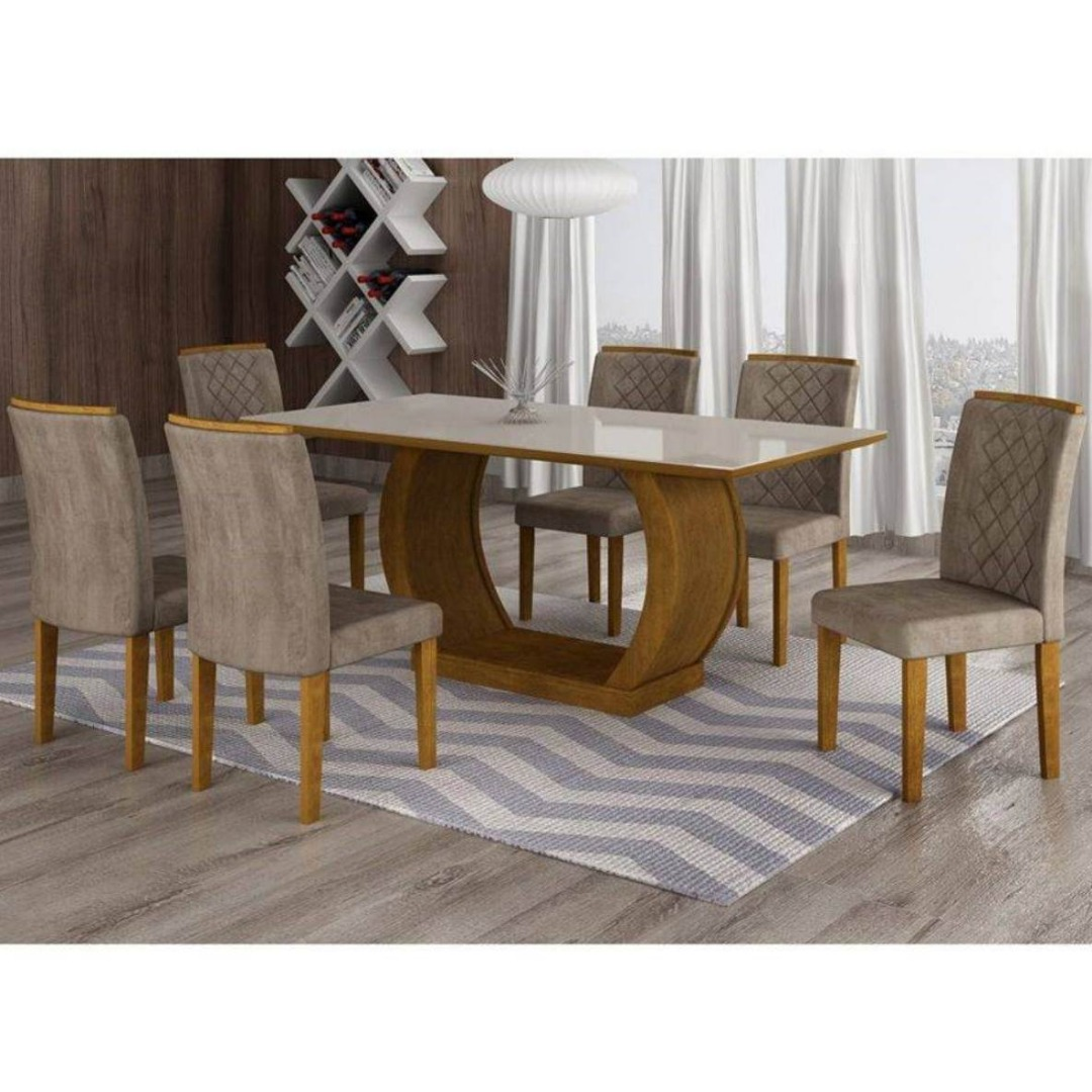 Mesa Jade em MDF com Tampo de Vidro 6 Cadeiras - Imbuia - Rufato