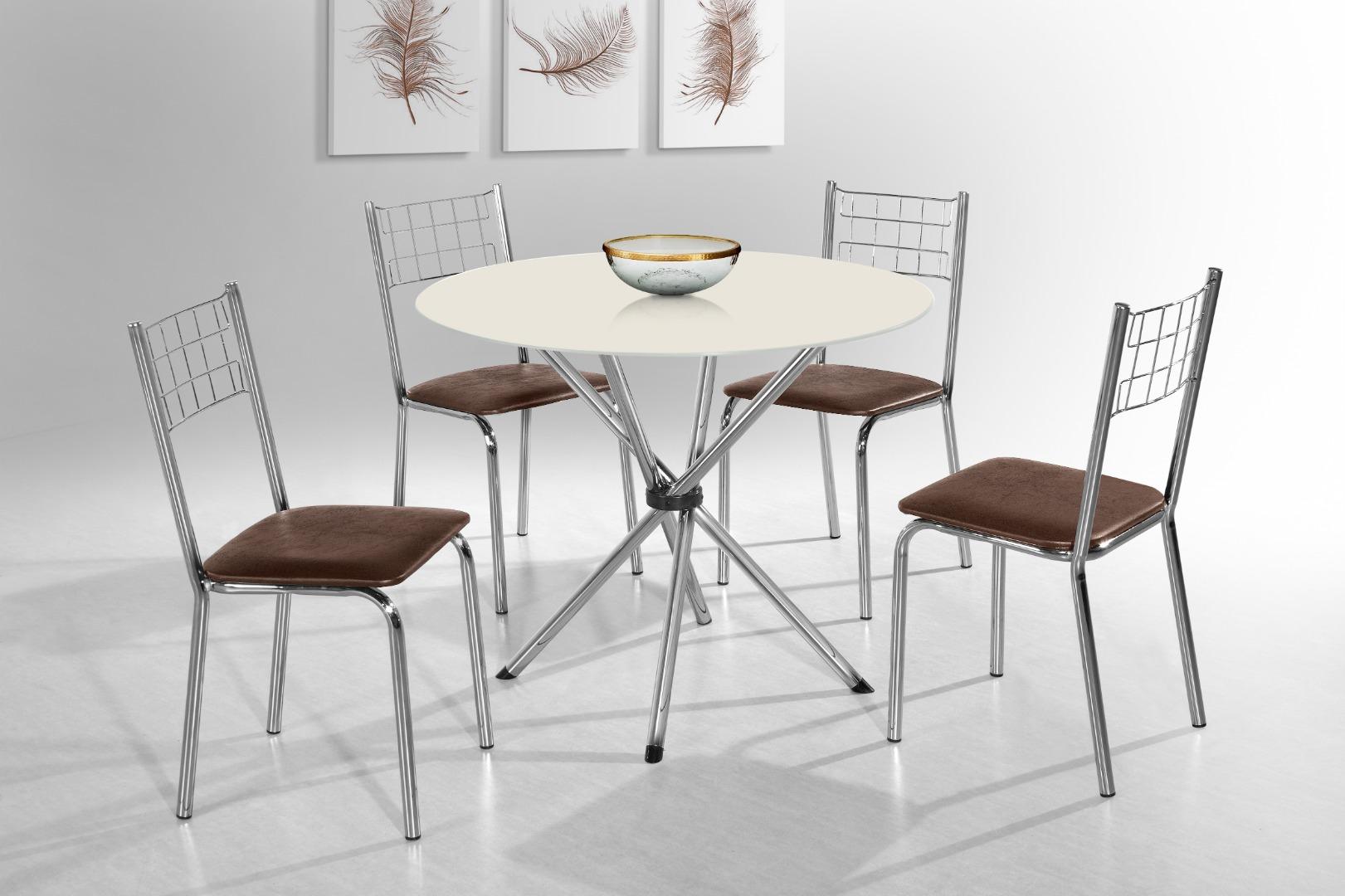 Mesa Laura 4 Cadeiras - Aço Nobre - Dunna/Off White