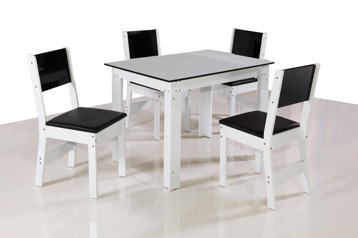 Mesa Milena 4 Cadeiras  - São Carlos - Preto/Branco