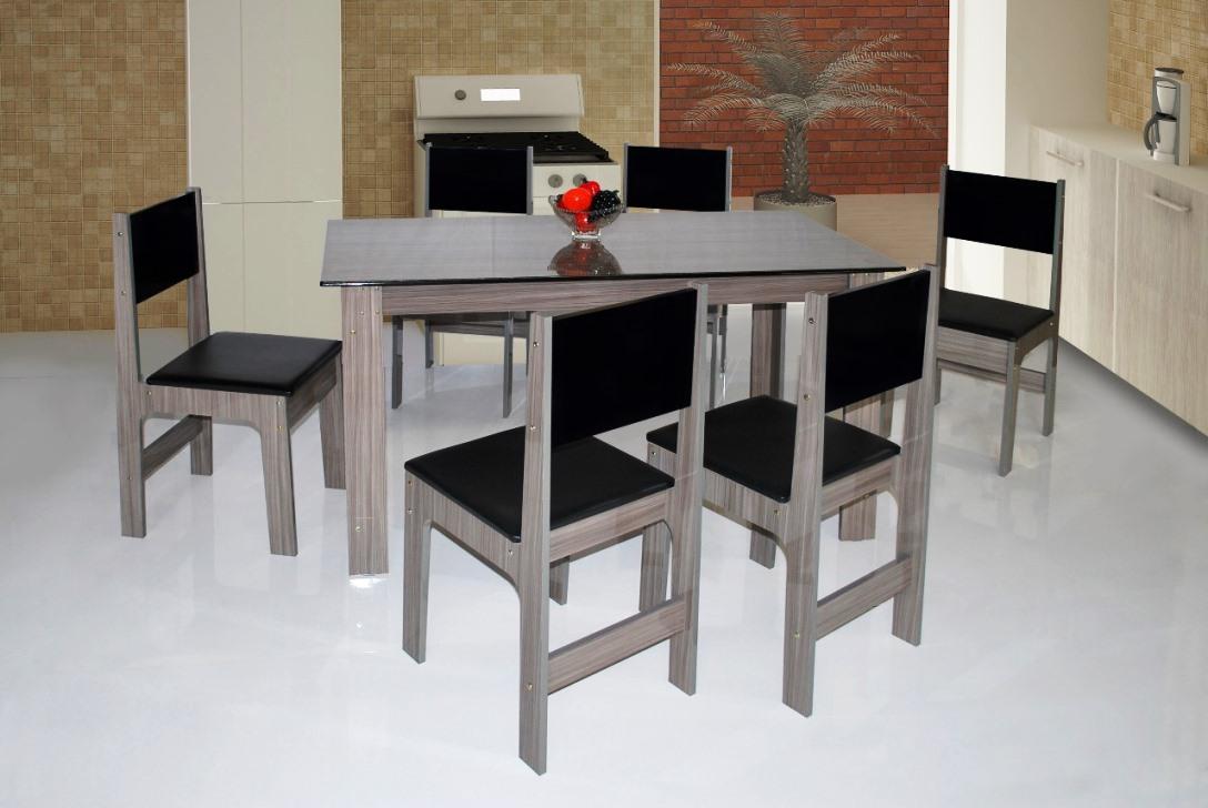 Mesa Milena 6 Cadeiras - São Carlos - Branco/Preto
