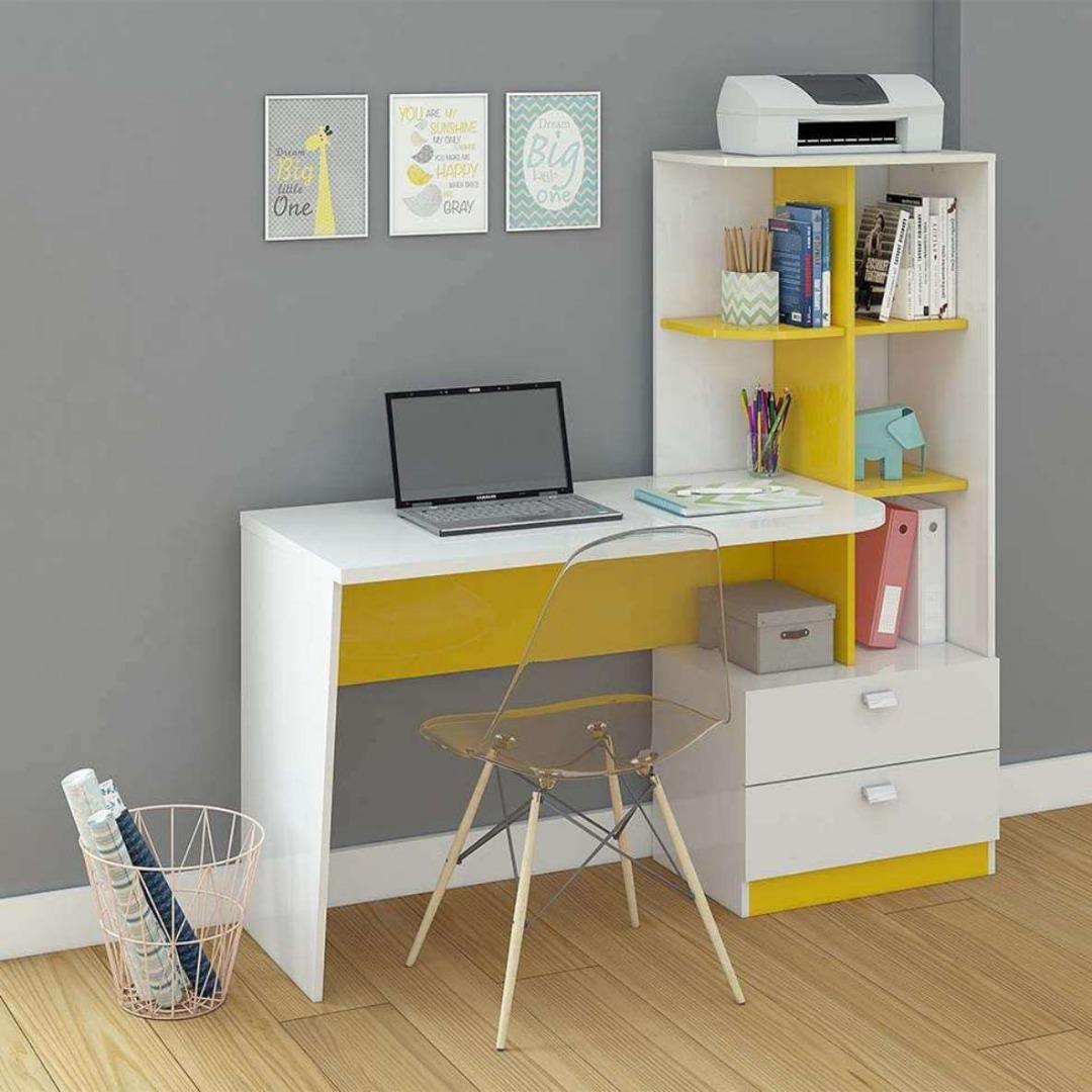 Mesa P/Computador Elisa - Permobili - Branco/Amarelo