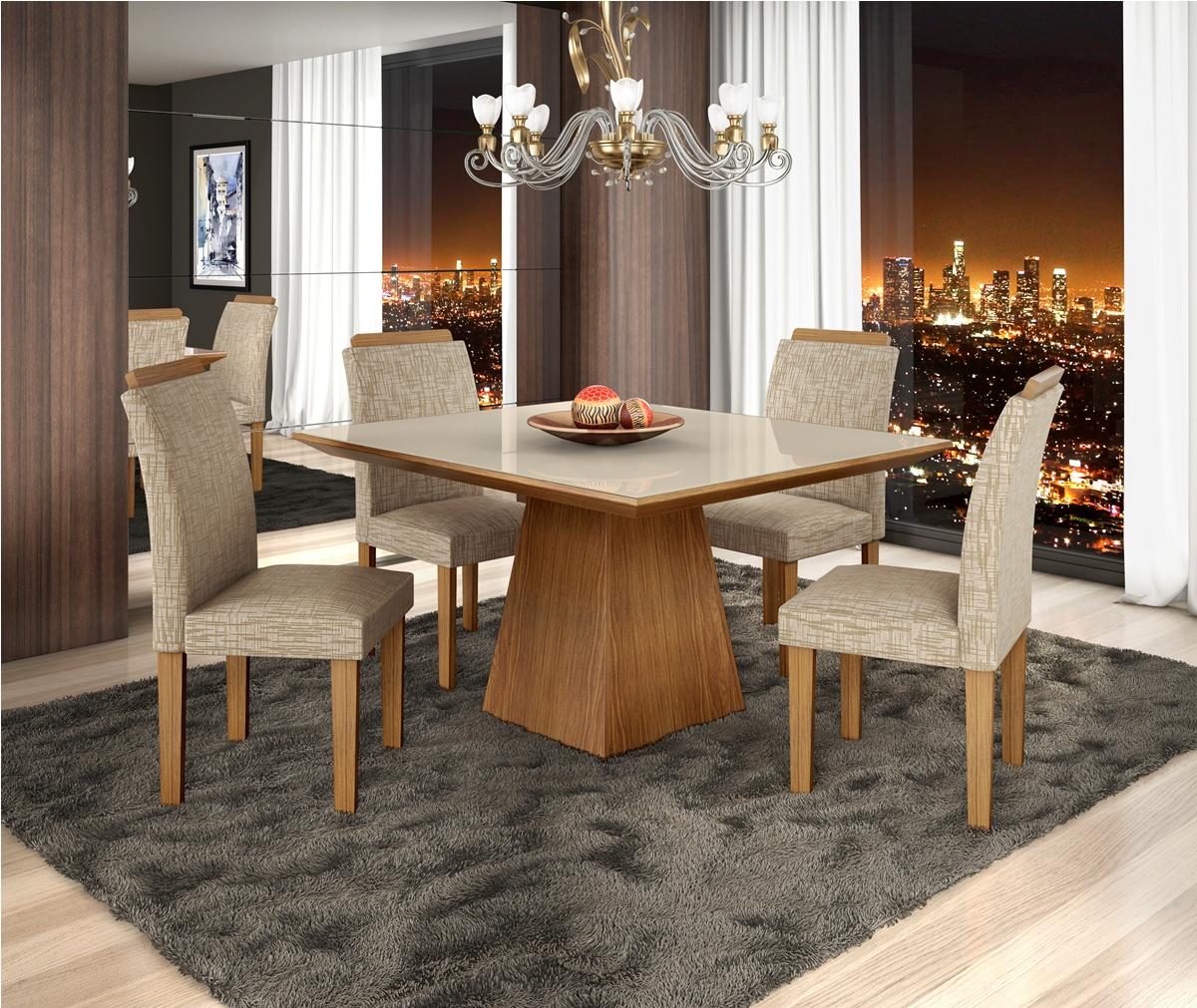 Mesa Pietra 4 Cadeiras - Vidro Off White Chocolate - LJ Móveis