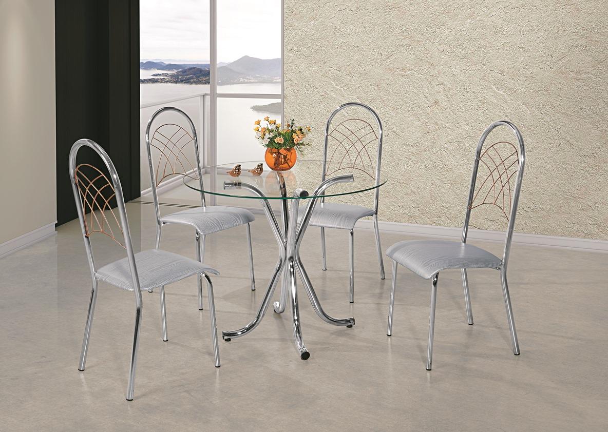 Mesa Priscila 4 Cadeiras - Aço Nobre