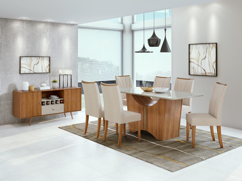 Mesa Rock 6 cadeiras - Lopas Rovere/Off White