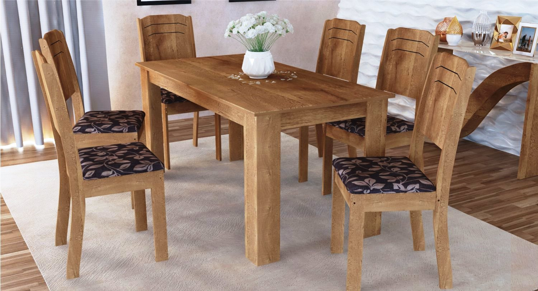 Mesa Star Amêndoa 6 Cadeiras - Tuboarte -  Rust/Cafe
