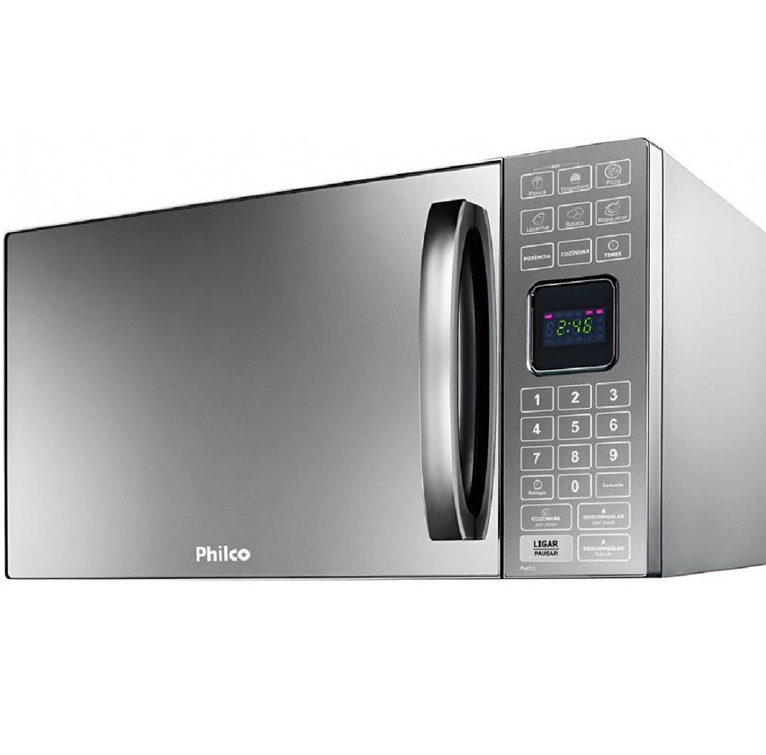 Micro-ondas PME25 25 Litros com Tecla Preparo Rápido Prata Espelhado 127V - Philco