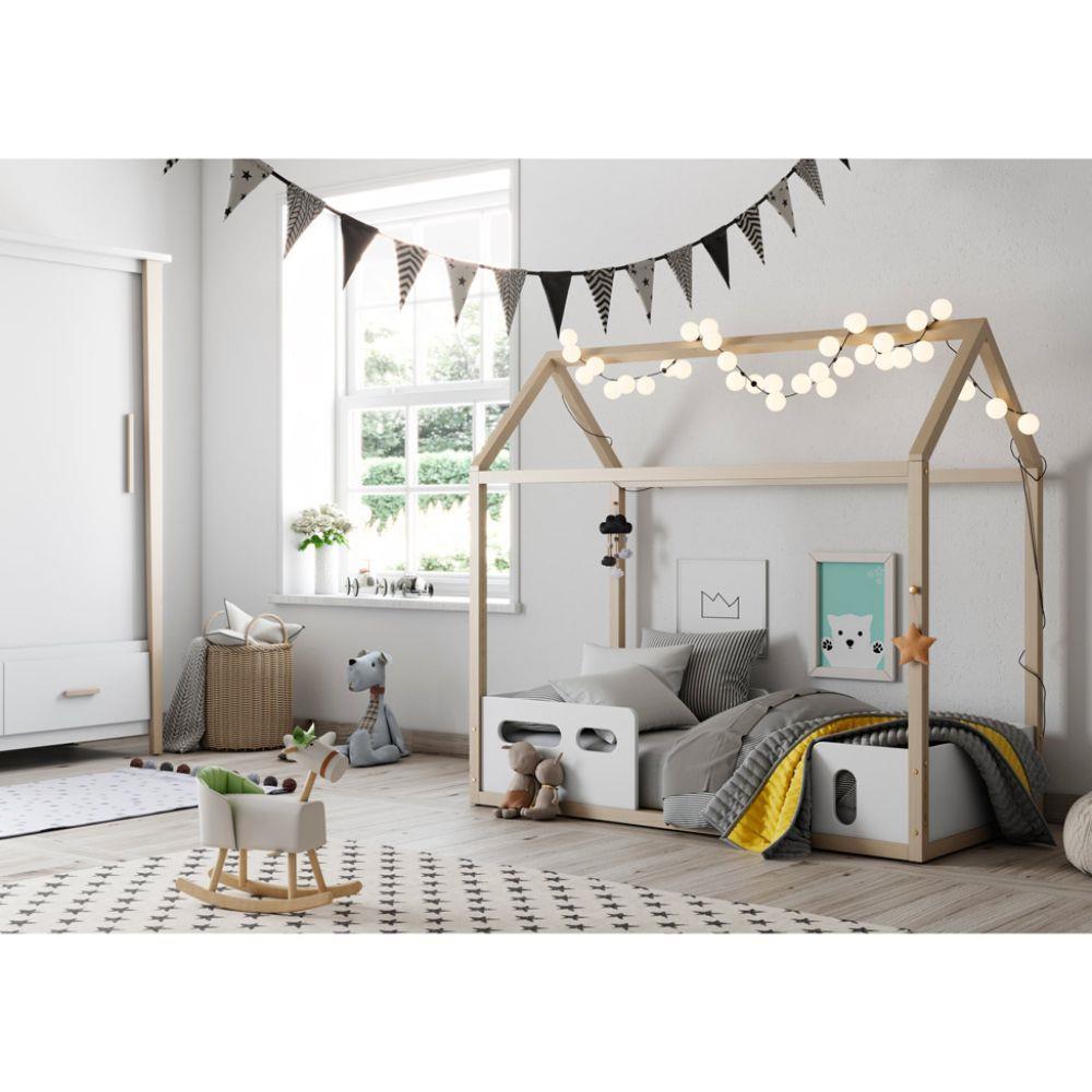 Mini Cama Montessoriana LIV Branco Soft/Natural - Matic Móveis