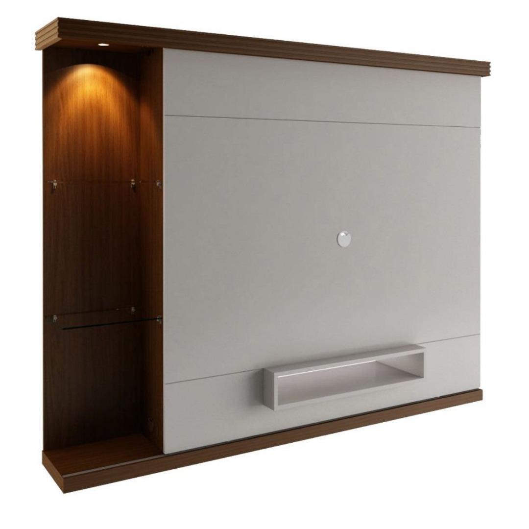 Painel para TV Versatto 180cm - Caramelo/Off White Brilho - Rudnick