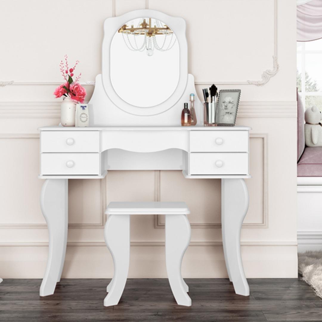 Penteadeira Princesa 4G com Espelho - Branca - Patrimar Móveis