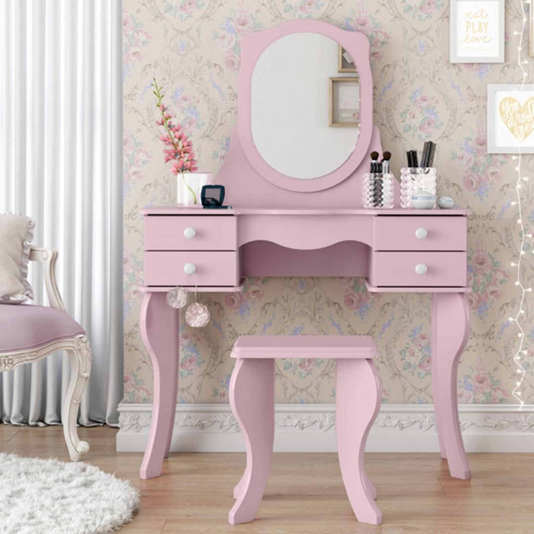 Penteadeira Princesa 4G com Espelho - Rosa - Patrimar Móveis