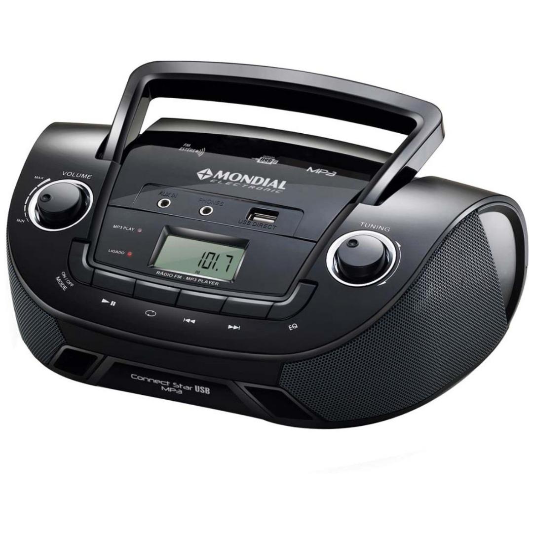 Rádio Portátil NBX06 com Entrada USB, Entrada Auxiliar e Rádio FM Preto - Mondial
