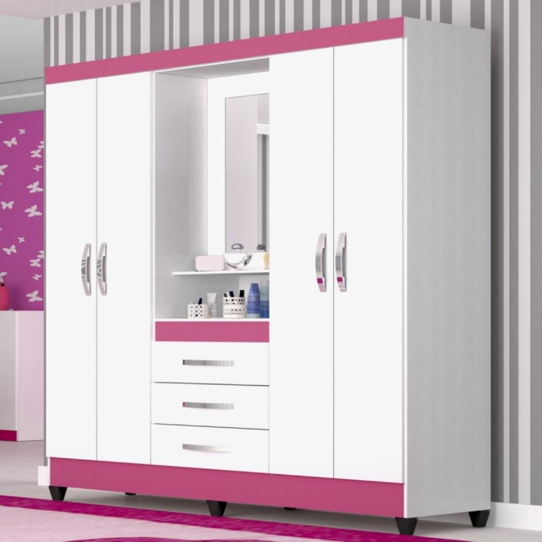 Roupeiro Capri Casal 4 Portas 3 Gavetas com Espelho - Branco/Rosa - Moval