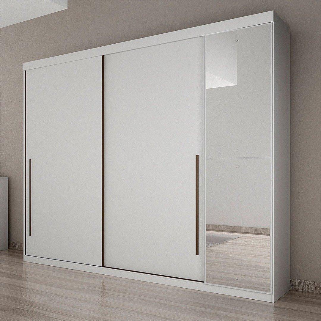 Roupeiro C/Espelho Scarpa 3P/4G 100%MDF - Branco Brilhante - Novo Horizonte