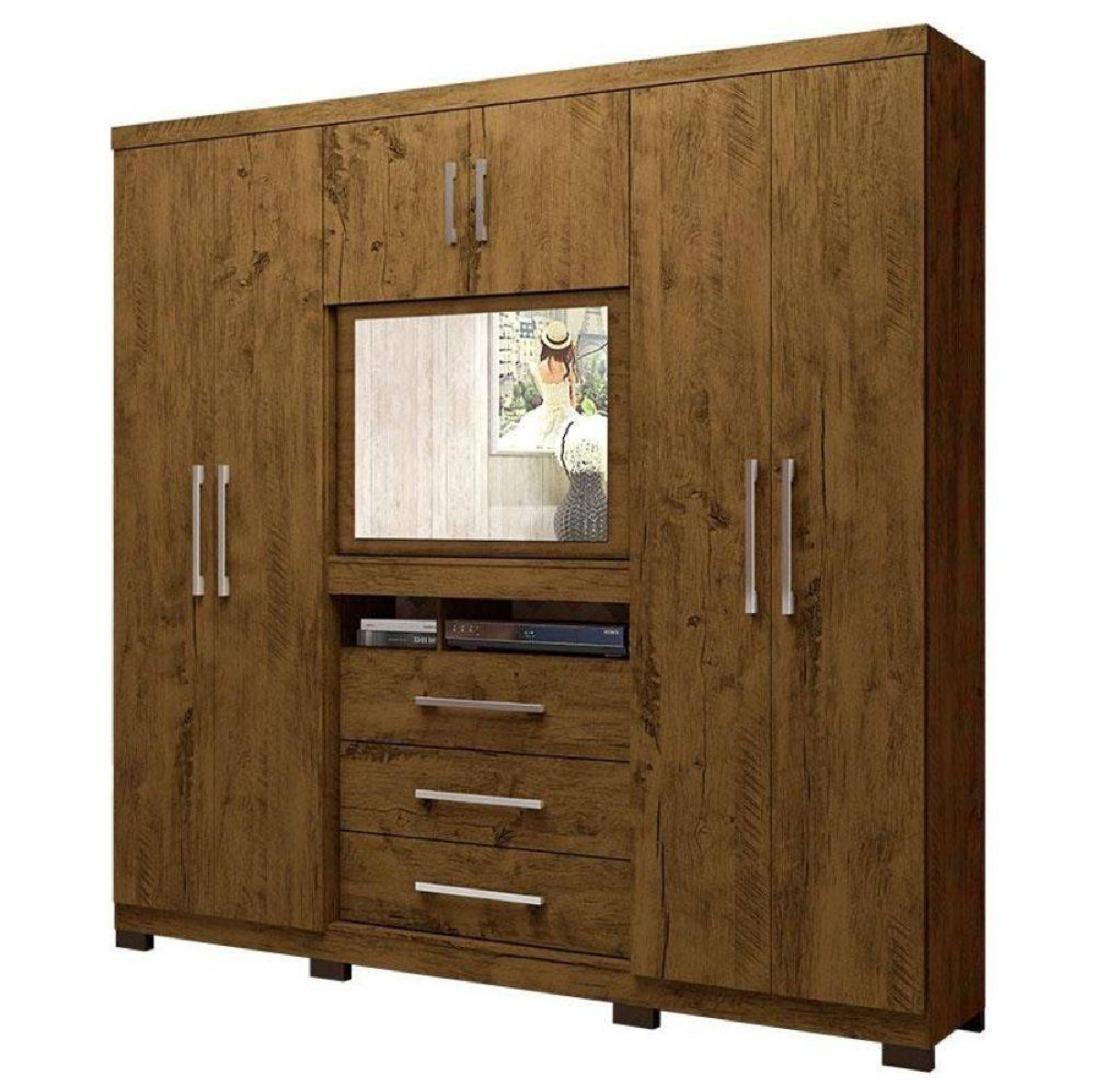 Roupeiro Dubai 6 Portas 3 Gavetas Castanho Wood - Multifuncional com Painel para Tv de 32 Pol - Moval