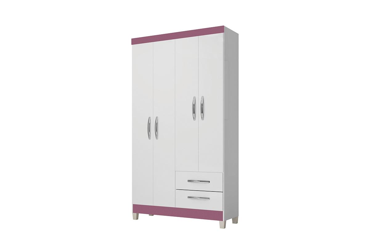 Roupeiro Moderna 4P - Incorplac - Branco/Azul/Rosa