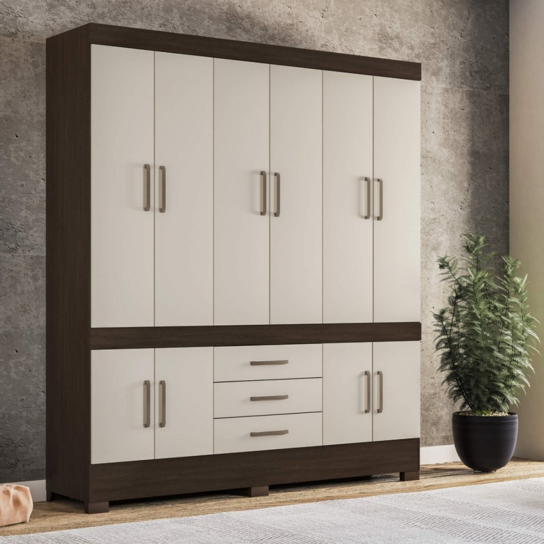 Roupeiro New Murano 10 Portas - Demobile - Ebano/Off White